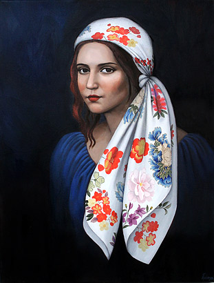 Amanda Johnson nz emerging artist, oil paintings, floral scarf