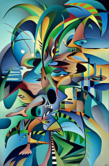 carl foster new zealand abstract and colourful painter, cubist shapes