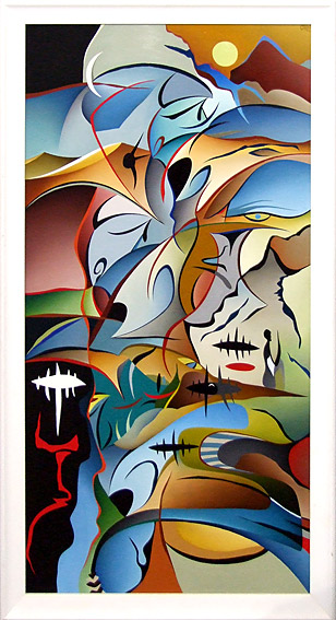 carl foster nz contemporary abstract artist, painter in cubist style, colourful