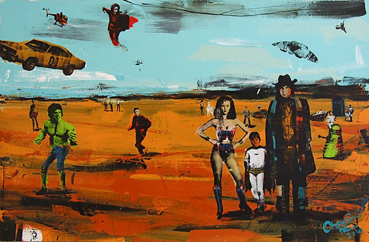 Christian Nicolson nz contemporary painter, wonder woman, doctor who, dalek