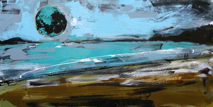Christian Nicolson nz contemporary abstract artist, paintings, blue moon