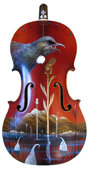 Dean Raybould nz contemporary artist, cello painting, tui