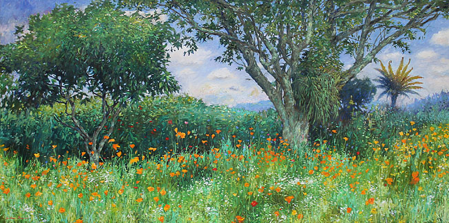 Graham Downs NZ landscape and flower artist, oil on stretched canvas