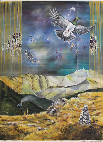 Nicky Thompson nz fine art paintings, canvas sheet, big sky dreaming