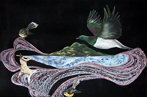 nicky thompson nz fine art painter, lace and birds