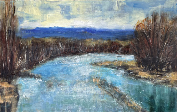 Nigel Wilson nz landscape artist, manuherikia river, acrylic on canvas