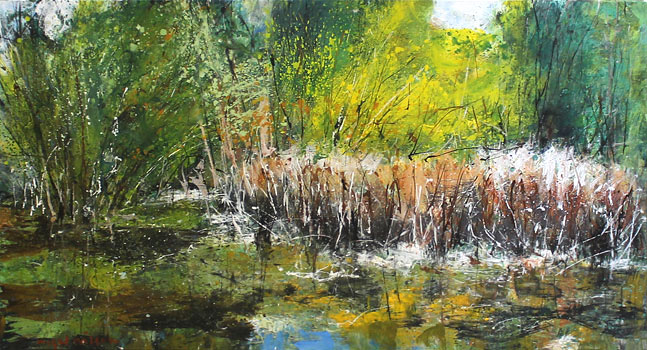 Nigel Wilson nz landscape art, wilsons pond, oil on canvas
