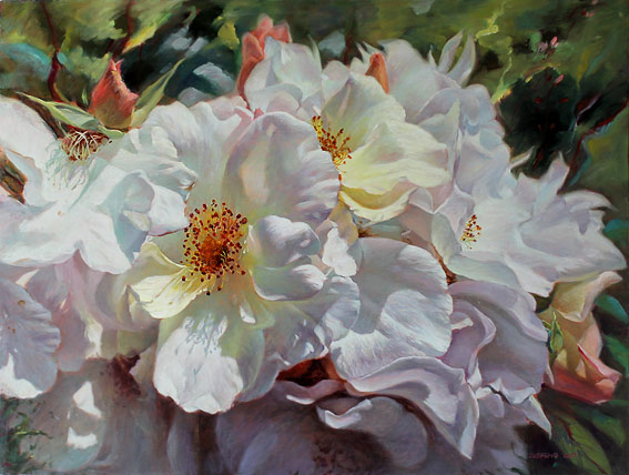 Zoe Feng nz fine art flower paintings, oil on board