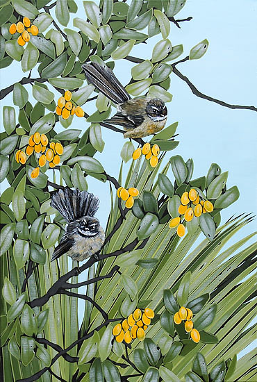 Kirsty Nixon artist nz fantails acrylic on canvas