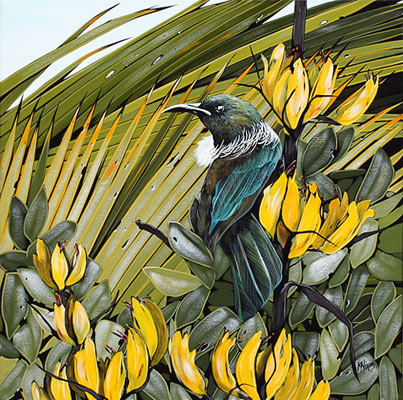 Kirsty Nixon nz tui acrylic on canvas