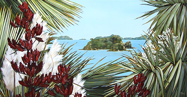 kirsty nixon nz landscape artist, acrylic on canvas paintings, bright colorful