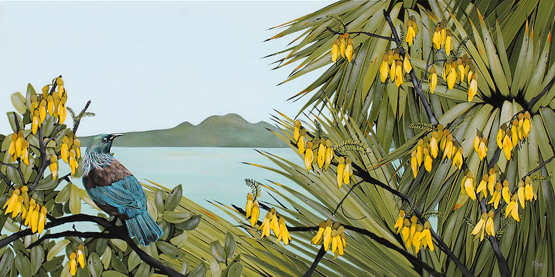 Kirsty Nixon nz landscape artist, rangitoto, acrylic on canvas, 2019