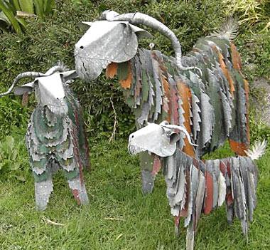Garden Sculpture Corrugated Iron Art Goats